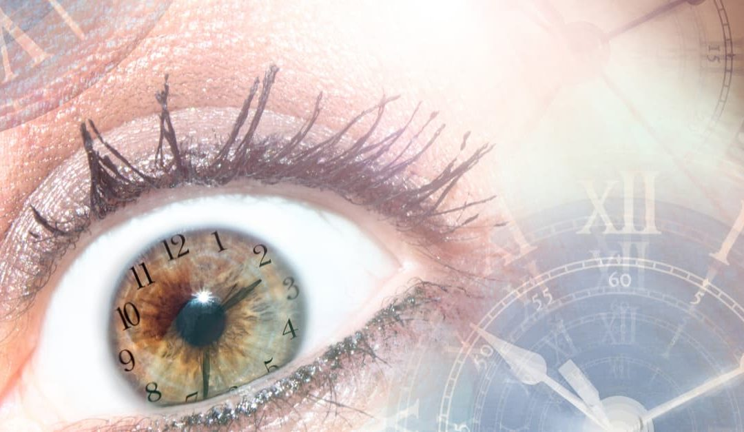 Eye of a woman with light, time and aging