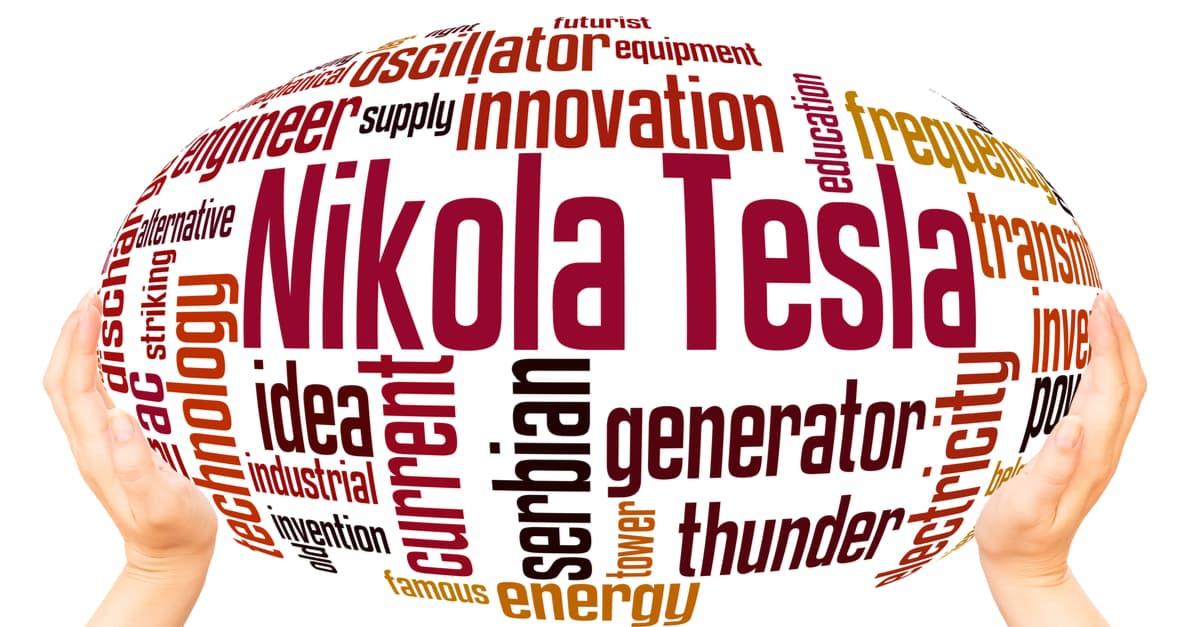 Nikola Tesla with words that describe him
