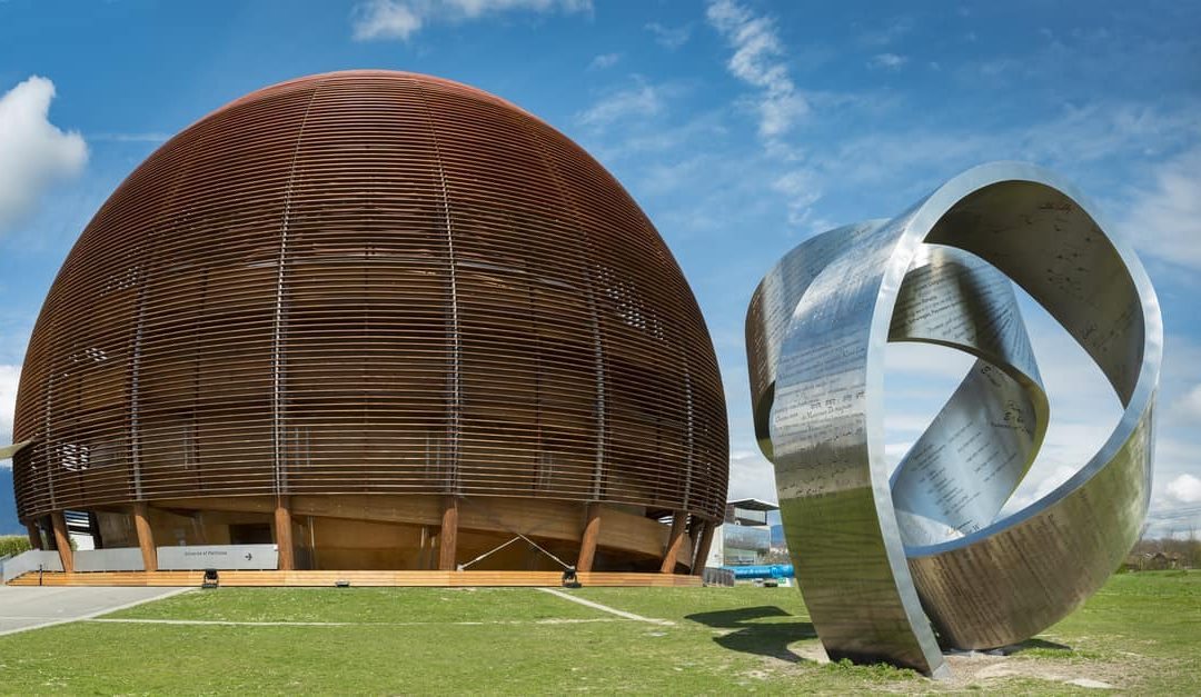 the globe of science & innovation and the 15-tonne steel sculpture in CERN