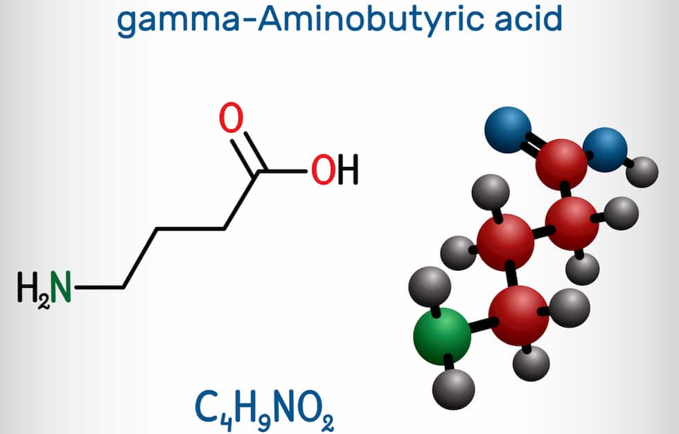 Gamma-Aminobutyric acid, GABA molecule. It is a naturally occurring neurotransmitter with central nervous system inhibitory activity.