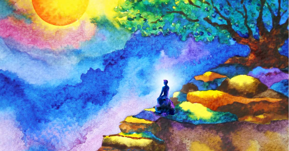watercolor painting of a human on a spiritual journey