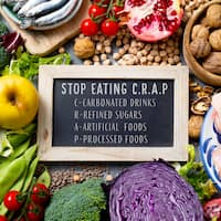 chalkboard with the text stop eating CRAP, for carbonated drinks, refined sugars, artificial foods and processed foods, on a pile of some different raw fruits, vegetables, legumes, nuts, meat and fish