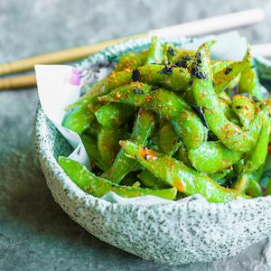 organic edamame soy beans seasoned with black sea salt
