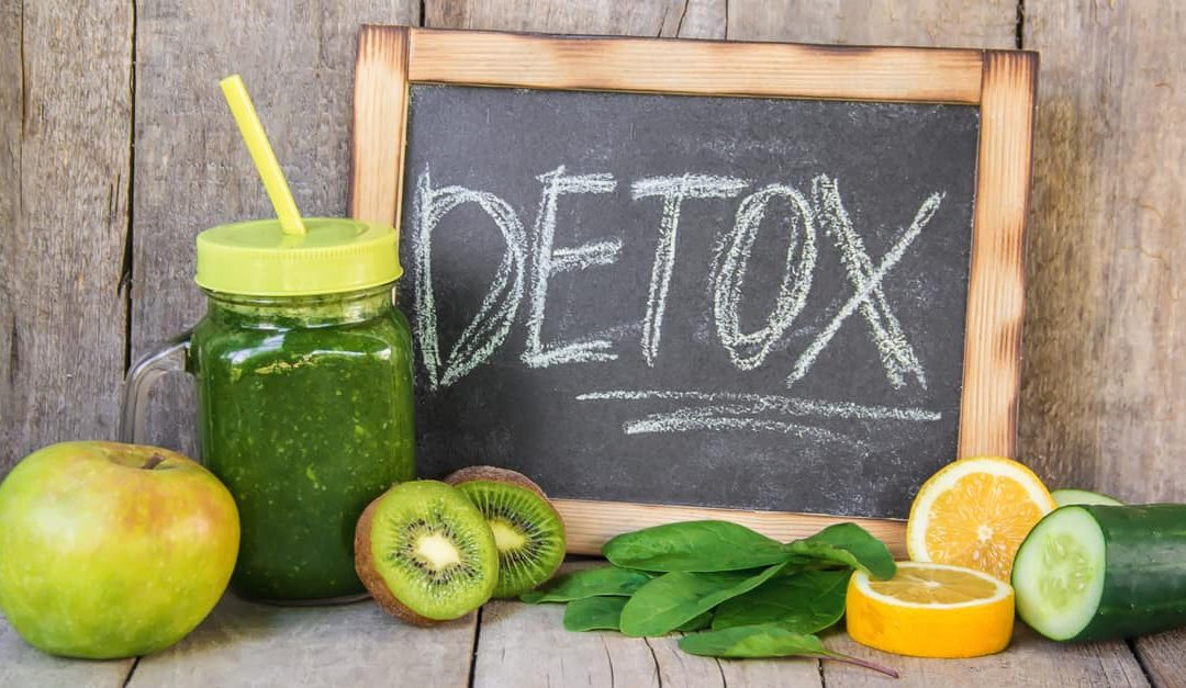 Detox diet, green smoothie with fruits and vegetables