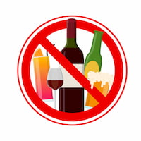 Wine, Beer and Cocktail Drinks Forbidden Warning Concept
