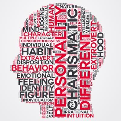 personality word cloud head