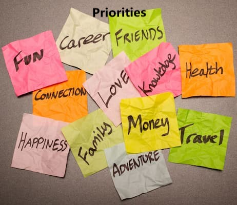 Lots of options on the table, priorities change over time