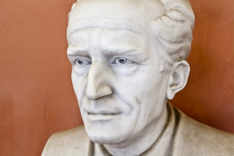 Statue of physicist Erwin Schrodinger at Vienna University, he coined the phrase quantum theory of biology
