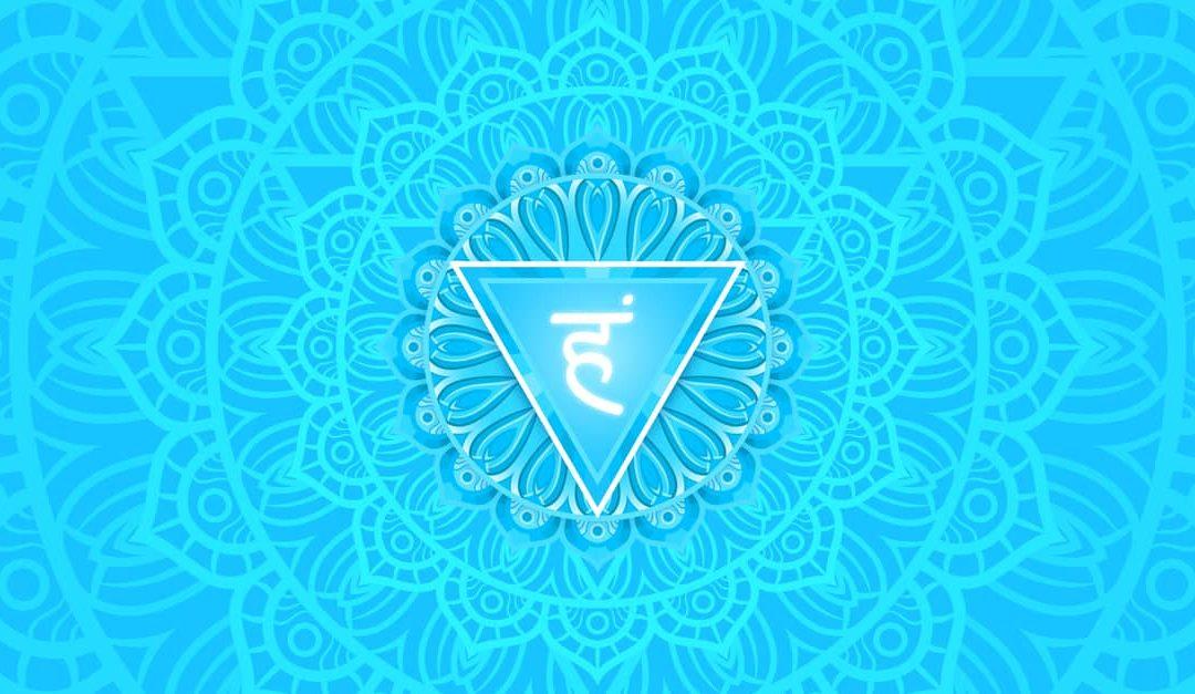 Vishuddha, throat chakra symbol. Colorful mandala.