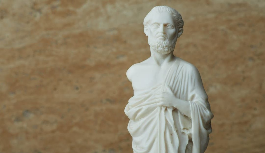 White statue of Hippocrates of cos