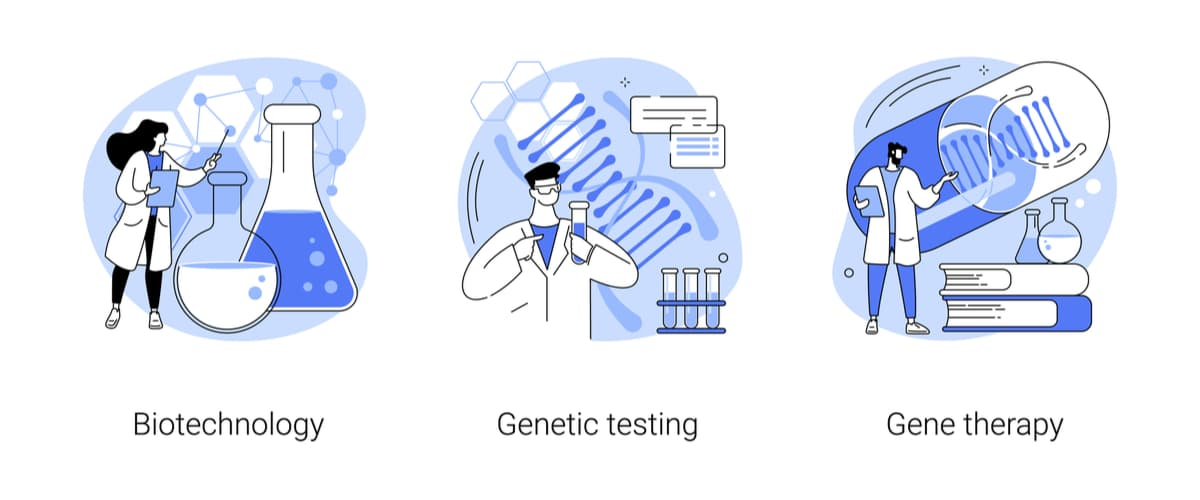 Human Genome Project biotechnology, genetic testing, and gene therapy concept vector illustration