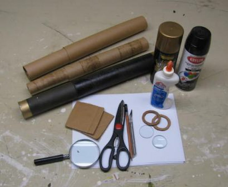 The equipment needed to make the Galileo telescope at home