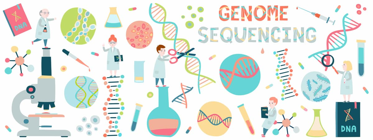 Cartoon concept of tiny scientists working at genome sequencing.
