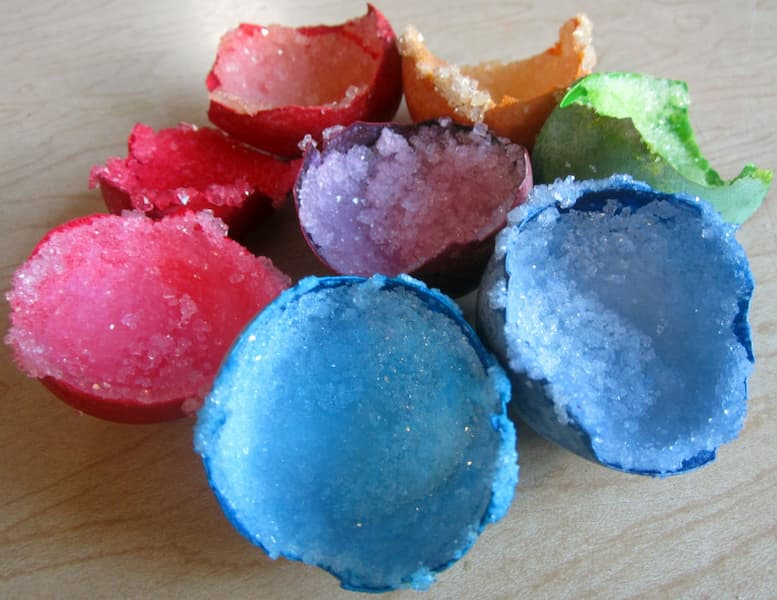 Colorful eggshell geodes that have been made at home