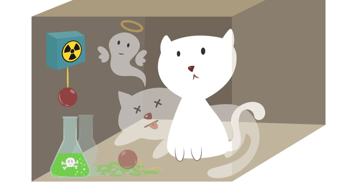 A cat, a flask of poison, and a radioactive source in box, Schrödinger's famous thought experiment.
