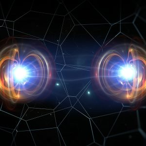 Artists representation of two connected quantum particles