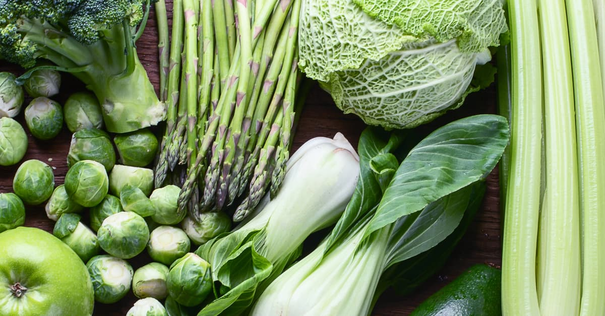Selection of Harty green vegetables that are typically grown in the US