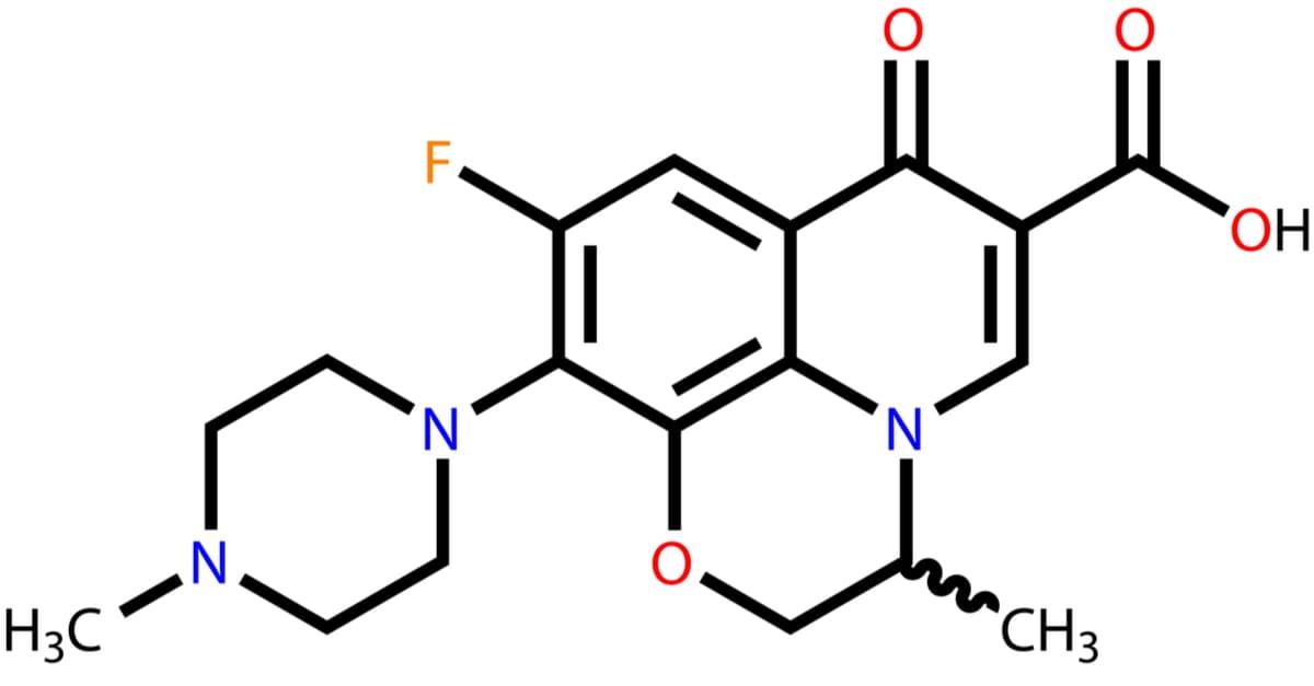 Antibiotic ofloxacin structural formula, ofloxacin is a bactericide based on first-generation quinolones
