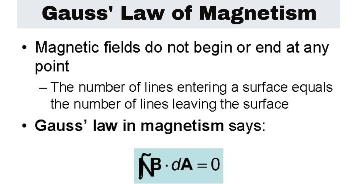 Carl Friedrich Gauss' law of magnetism