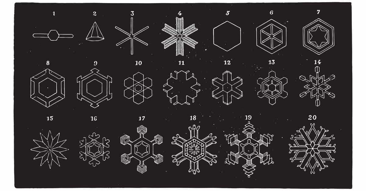 Crystalline forms of snowflakes seen under the microscope, shows intelligent design in nature