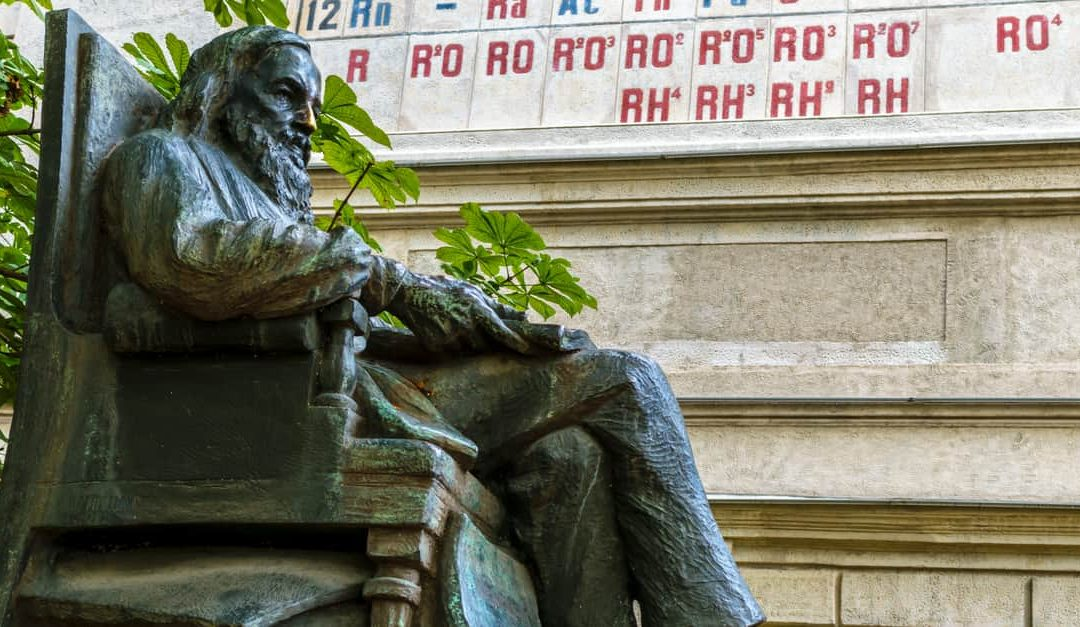 A monument to Dmitri Mendeleev, in the garden in front of the Chamber of Weights and Measures, Russia