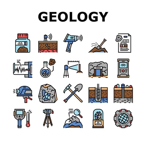 Various geology equipment in a vector image